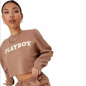 Playboy Brown Logo Cropped Sweatshirt